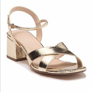 H by Halston Gold Snakeskin Sandals Shoes 10